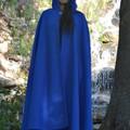 Wool Blend Cloak Medium Length Bright Blue