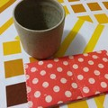 Handy Tea Bag Wallet-Muted dots on orange