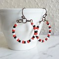Colourful seed bead hoop earrings , Red Black White mix , Art deco Modern Artsy