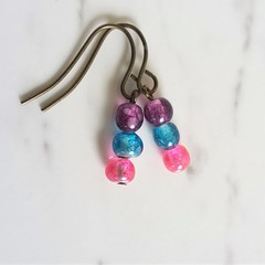 Unique mini glass bead drop earrings , Purple Blue Pink mix , Cool Art deco