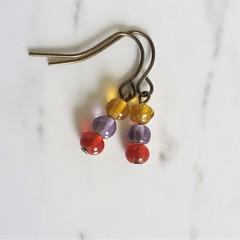 Boho small glass bead drop earrings , Brown Purple Red mix , Hippie Retro Cute