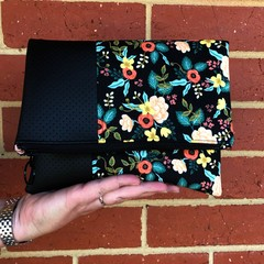 Fold Over Clutch - Black Flowers