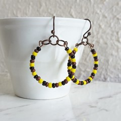 Colourful seed bead hoop earrings , Black Brown Yellow mix , Tribal Boho African