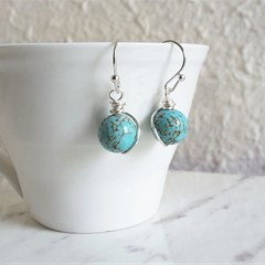 Simple single marble turquoise blue round stone silver wire short drop earrings