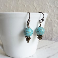 Boho single marble turquoise blue round stone brown wire short drop earrings