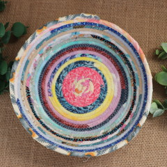 Rope Bowl- Pink centred blue, pink and yellow