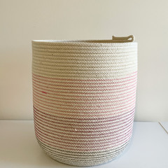 Rope Basket - with Navy and Pink Stripes