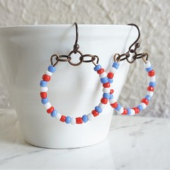 Colourful seed bead hoop earrings , Pale blue White Red mix , Modern Hippie Cute