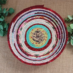 Rope Bowl- Green Centred Maroon and Pastel