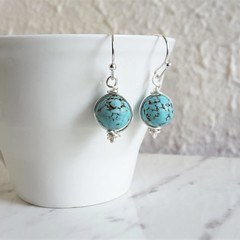 Boho single marble turquoise blue round stone silver wire short drop earrings