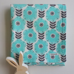 Baby Blanket - Aqua Flower Power- Cotton and Flannel