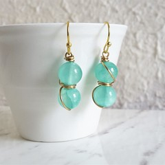 Boho style Pale blue green round stone gold wire wrapped drop earrings