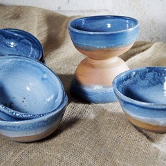 Pottery reduction fired breakfast / pasta bowls