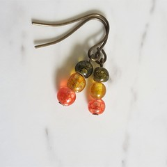 Unique mini glass bead drop earrings , Green Yellow Red mix , Boho Colourful