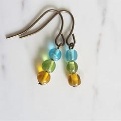 Boho small glass bead drop earrings , Sky blue Green Brown mix , Chic Woodland
