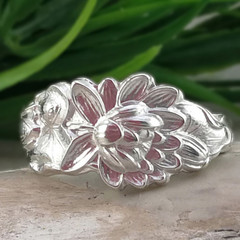 LOTUS FLOWER RING, Sterling Silver Spoon Ring. Custom Size.