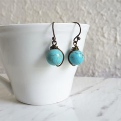 Simple single marble turquoise blue round stone brown wire short drop earrings
