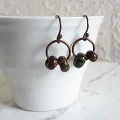 Unique beaded hoop drop earrings , Striped , Tribal Bohemian Artsy Hippie Cool