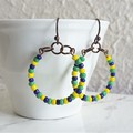 Colourful seed bead hoop earrings , Blue Green Yellow mix , Tribal Boho African