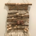 Handwoven Wall Hanging with dried  flowers - 45x24cm- Boho