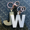 Initial Keyring  / Personalised faux leather letter name keychains