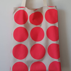 OUMU neon pink circles print, large lined tote bag, tote bag, gift for her, moth