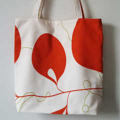 OUMU orange floral print, small lined tote bag, gift for her, mother's day gift,