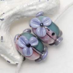Teal and Pink with Lavender Flowers Lampwork Glass Bead Pair