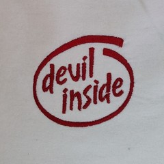 Devil inside embroidered baby bib