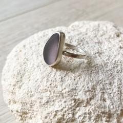 Sea glass bezelled ring