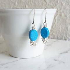 Modern Minimal Small Auqa blue oval stone silver wire ball short drop earrings