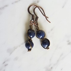 Antique boho style midnight blue round stone brown wire wrapped dangle earrings