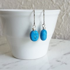 Modern boho style mini Aqua blue oval stone silver wire short drop earrings