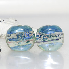 Water Blue Webbed Dimes Lampwork Glass Bead Pair