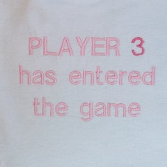 Player 3 has entered the game embroidered baby bib