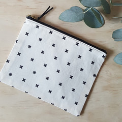 OUMU flat black crosses print zipper pouch, accessory, handmade gifts, makeup ba