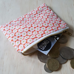 OUMU floral print, coin purse, handmade, small zipper pouch, accessory, gifts fo
