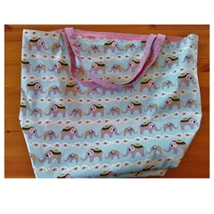 Large Totally Reversible Tote Bag - Pink & Blue Elephants