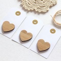 3 Gift Tags, Mini Tags, Bamboo Heart, Gift Wrap, Birthday, Wedding, Blank