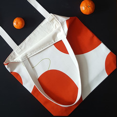 OUMU circular orange print, small boxed lined tote bag, tote bag, gifts for her,