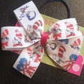 Dr Seuss Cat in the hat pinwheel bow