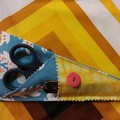 Handy Scissor Holder-Blue/orange/white Ikea fabric