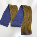 Merino Wool, Microfibre, Cashmere Scarf , FREE POST, Hand-Knit, Blue Gold