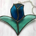Blue Tulip Stained Glass Small Suncatcher,