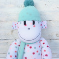 'Bella' the Sock Monkey - peach or mint accessories - *MADE TO ORDER*
