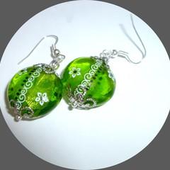 One of a kind glass earrings