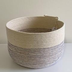 Rope Basket - Purple Stitching