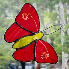 Grenadine Red Stained Glass Butterfly Suncatcher, Handmade in Australia