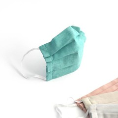 Teal Pleated Cotton Face Mask with Filter Pocket And Nose Bridge Wire