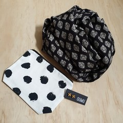 Gift pack special: OUMU infinity scarf, zipper pouch  and a pair of earrings.